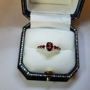 Garnet Sterling Ring Size 7